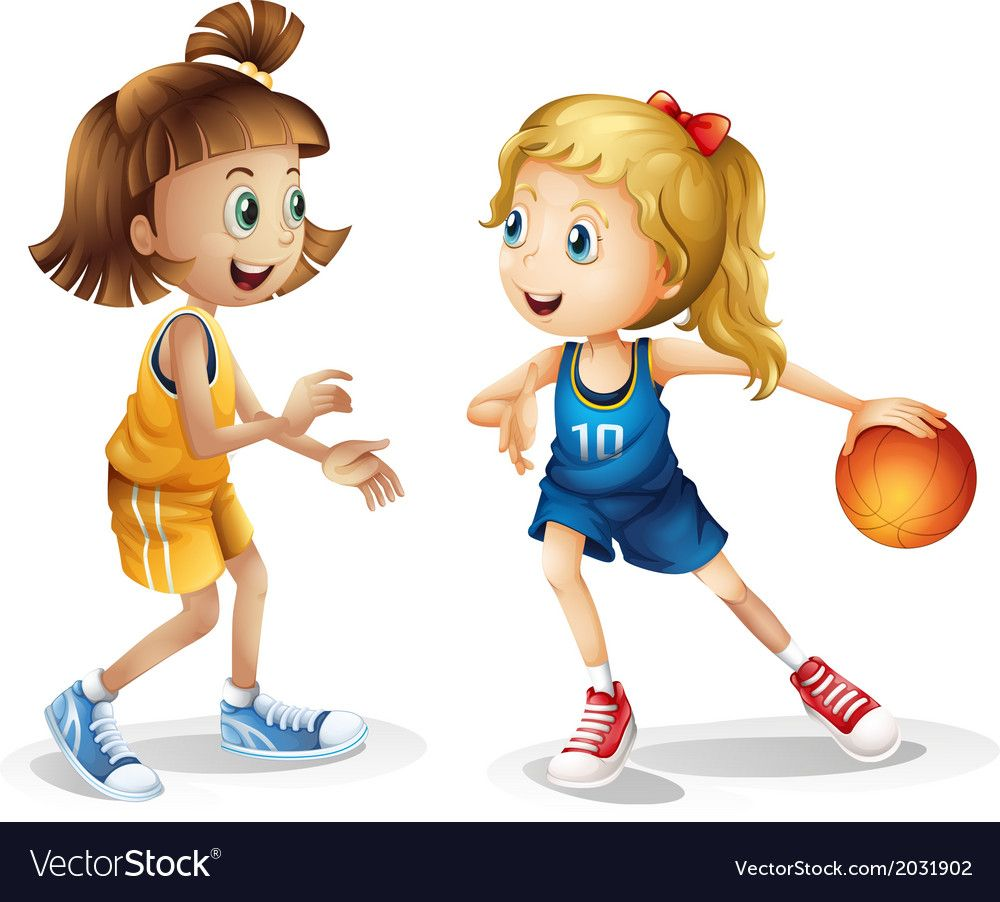 Female Basketball Players Vector Image On Vectorstock Basketball Players Basketball Clipart Basketball