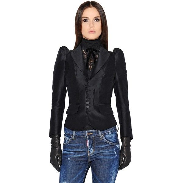 Dsquared2 Women Victorian Wool & Silk Blend Jacket ($1,230) ❤ liked on Polyvore featuring outerwear, jackets, black, wool jacket, woolen jacket, puff shoulder jacket, dsquared2 jacket and victorian jacket