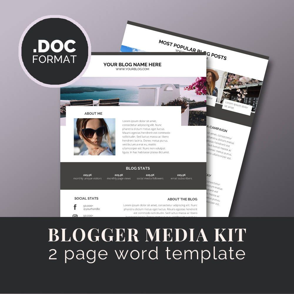 Blogger Media Kit Template / Blog Marketing Kit / Word /Press Kit ...