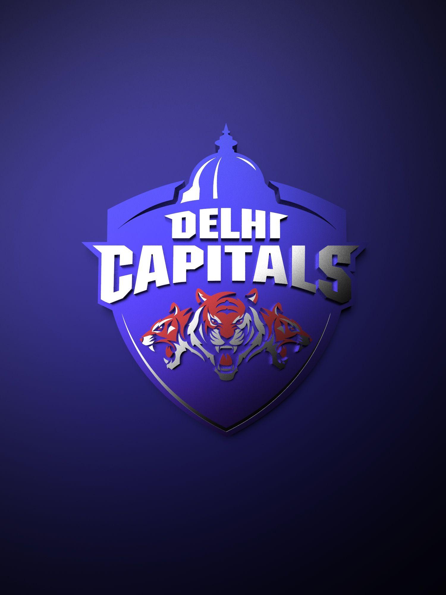 Delhi Capitals Ipl Metallic Logo Poster Painting Tenorarts In 2020 Metallic Logo Ipl Cricket Wallpapers