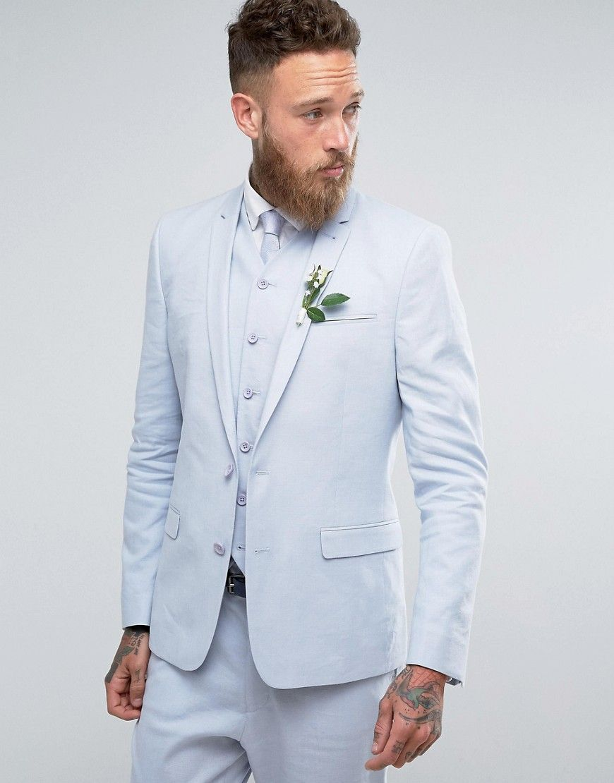 c24d43ca373 ASOS WEDDING Skinny Suit Jacket In Light Blue Stretch Linen Cotton - B