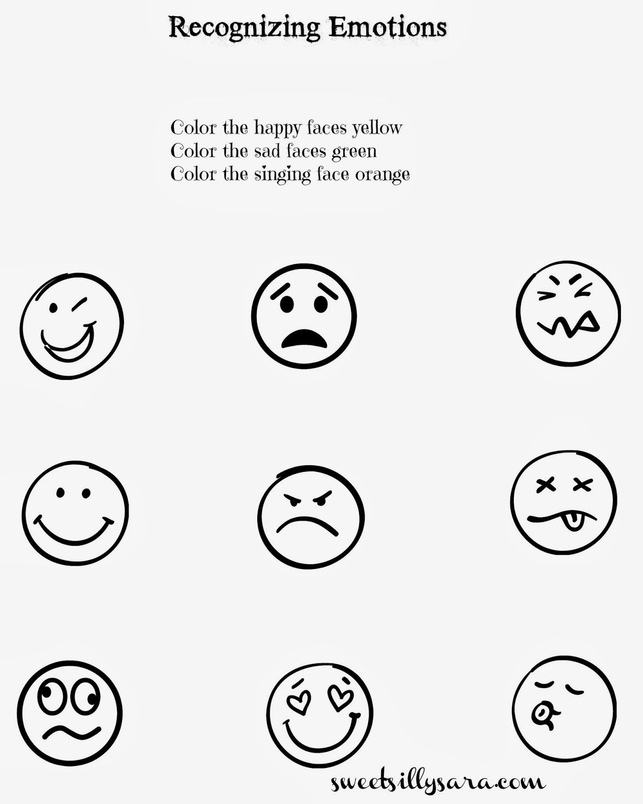 Sweet Silly Sara Recognizing Emotions Worksheet – Feelings and Emotions Worksheets