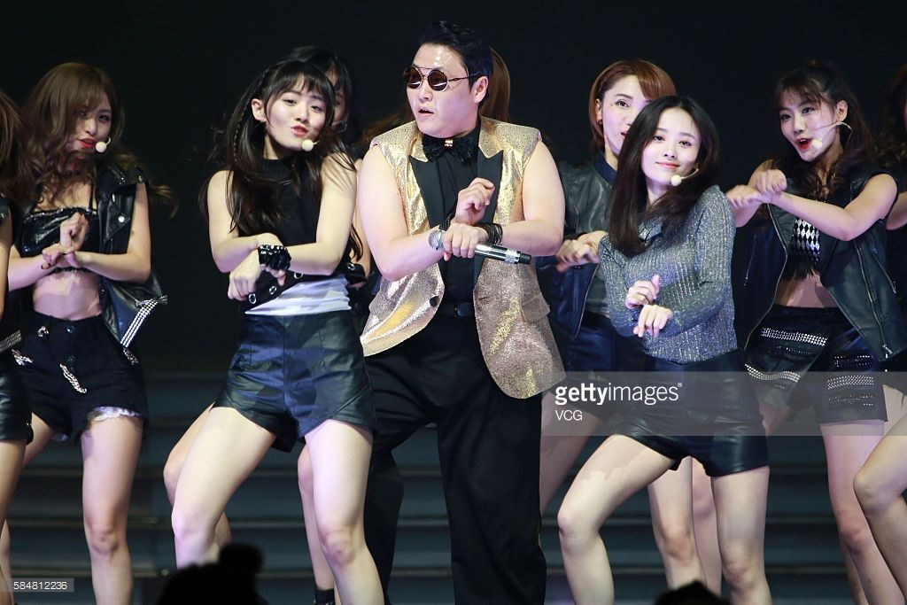 south korean singer psy performs onstage during the snh48 election
