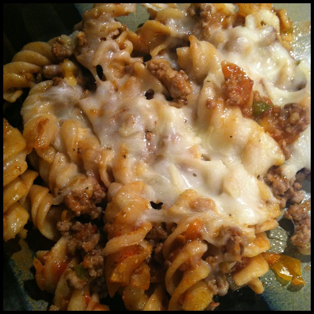 My Ground Beef Casserole Ground Beef Peppers Onions Pasta Little Pasta Sauce Mozzarella Cheese So Good Meat Recipes Tasty Dishes Beef Dishes