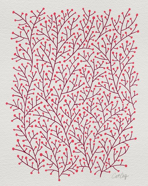 Pink Berry Branches Art Print by Cat Coquillette