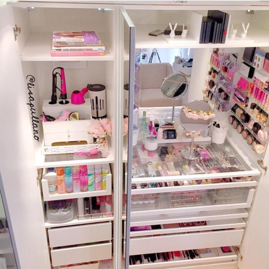 Girl Makeup Station My Ikea Pax Wardrobe Vanity Clothes Makeup Nails Oh