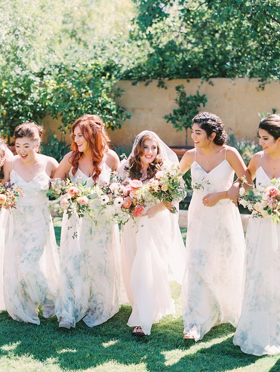 85419d14b Jenny Yoo Bridesmaids, shown in our 'Inesse' Dress in Ivory Sage Vintage  Floral print. This long chiffon dress is the perfect bridal party dress for  a ...