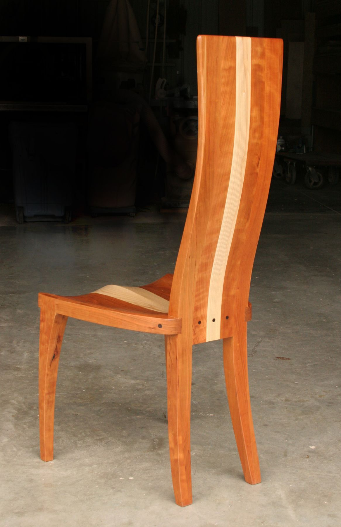 Custom Made Modern Wood Dining Room Chair With Carved Seat Gazelle High Back