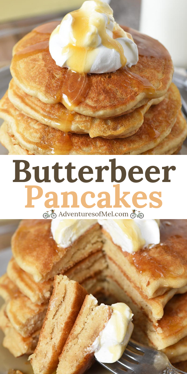 How to make fluffy butterbeer pancakes your Harry Potter fan will love. Easy recipe with no eggs, perfect for a breakfast or brunch surprise! #adventuresofmel #butterbeer #pancakes #breakfast #brunchrecipes #frühstückundbrunch