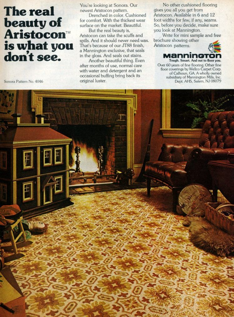 Get down with these groovy vinyl floors from the '70s - #vintagehome #homedecor #vintagedecor #vintagekitchen #vinylfloors #vintageflooring #retrohome #retrodecor #linoleum #lino #flooring #clickamericana