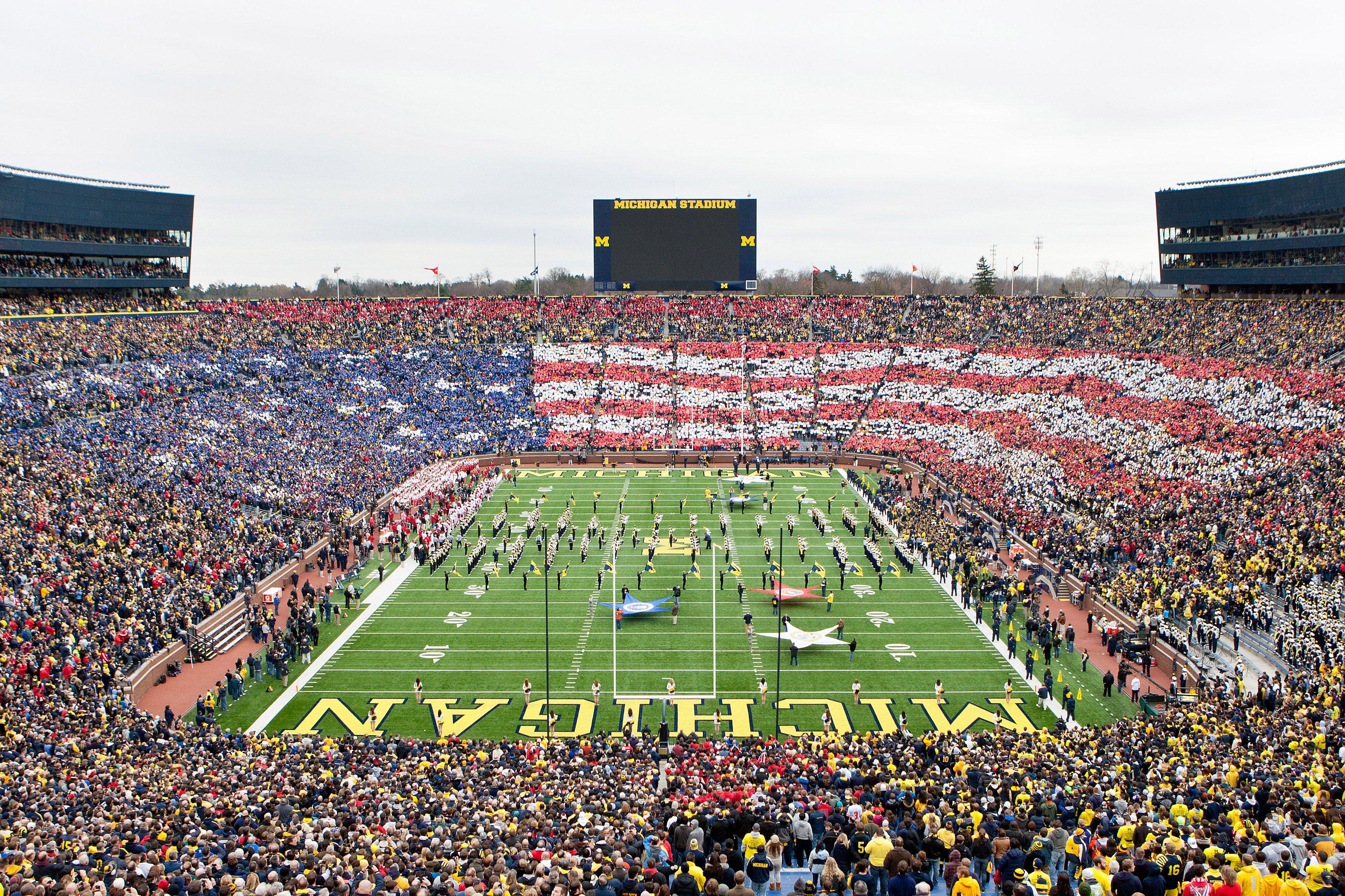American Flag over Michigan Stadium (aka \'The Big House\') in Ann ...