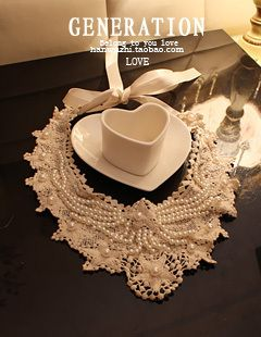 Handmade pearl collar necklace