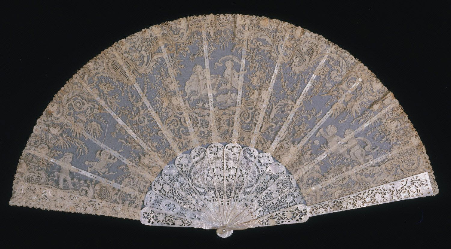 1880-1885, Belgium - Fan attributed to Léon Sacré - Point-de-gaze lace leaf; carved and pierced mother-of-pearl sticks and guards