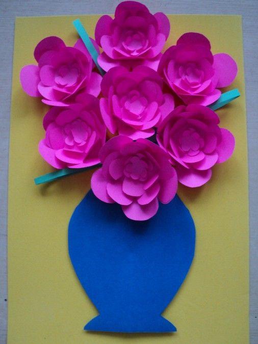 «Цветы в вазе» объемная аппликация из цветной бумаги. - Для воспитателей детских садов - Маам.ру