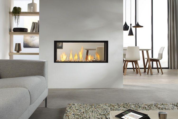 Kaminofen Wohnzimmer ~ Doppelseitiger glaskamin dru und wohnzimmer einrichtung in