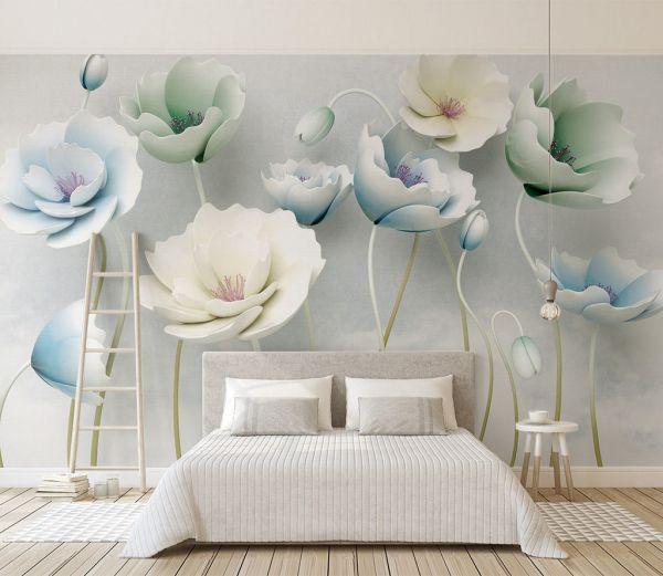 Fototapeta Pastelowe Kwiaty 25112 Uwalls Pl Living Room Background Wallpaper Living Room Wall Murals