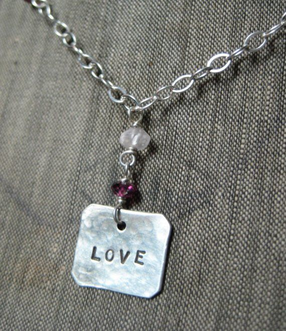 SALE  Love Charm Necklace with Rhodolite by hoitytoitydesigns, $20.00.  Enter our drawing for a free handmade necklace today!
