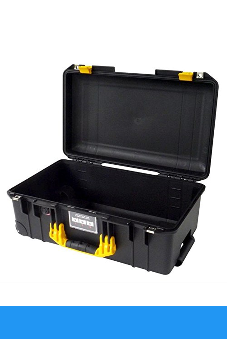 Black Pelican 1535 Air case with Yellow Handle & latches