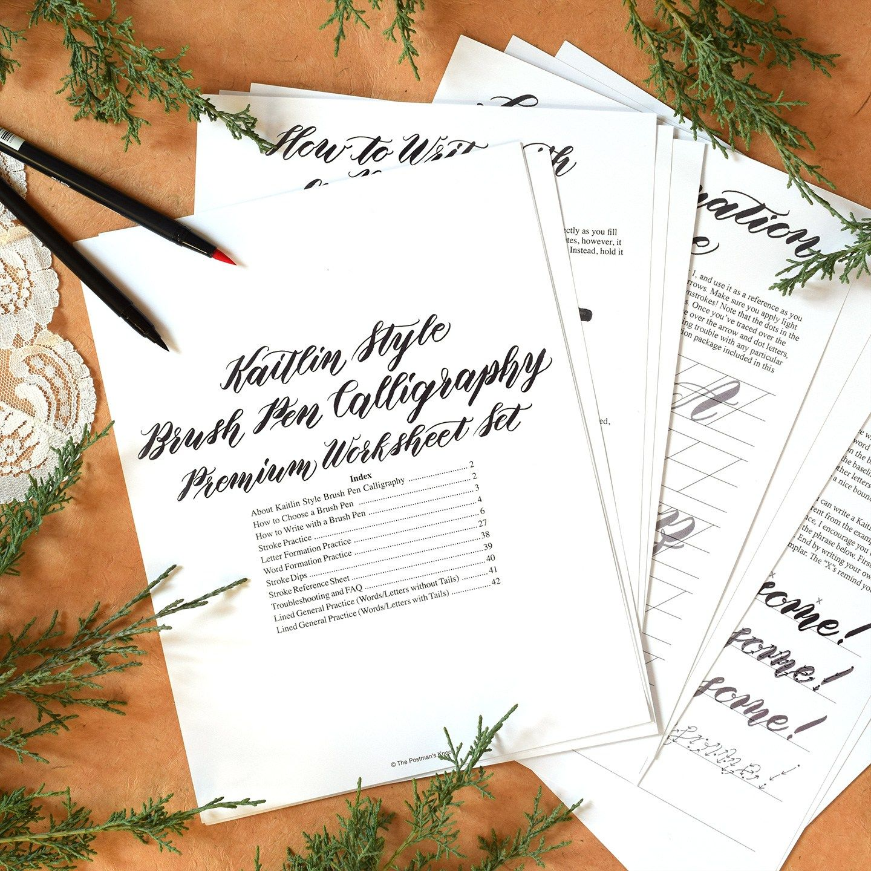 Premium Brush Pen Calligraphy Worksheet Videos