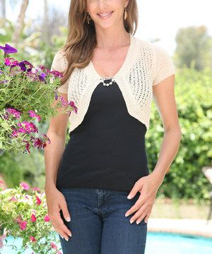 Another great find on #zulily! Beige Sheer Knit Shrug by Ananda's Collection #zulilyfinds