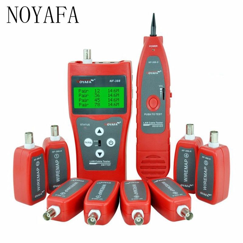 Network Cable Tester w Remote LAN BNC RJ45 Ethernet Coaxial Phone RJ45 RJ11 12