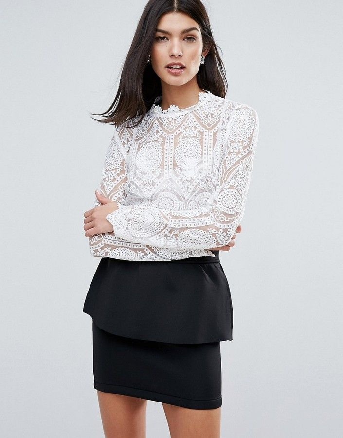 1ab1847d7474b6 Lipsy High Neck Lace Top | Tops & shirts | High neck lace top, Tops ...