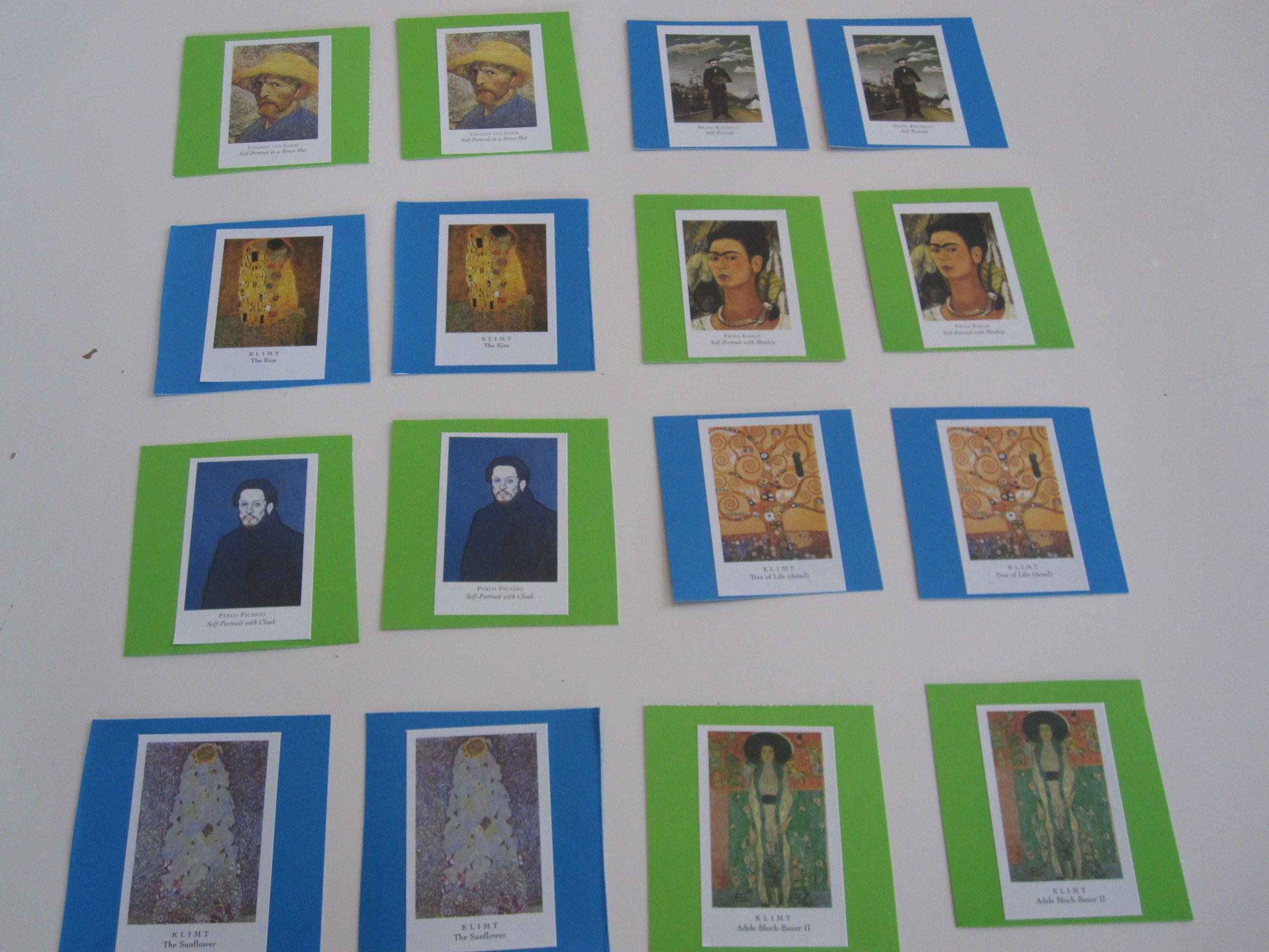 Masterpiece memory game teaching art memory games