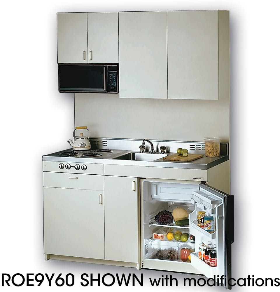 Acme ROG10Y54 Compact Kitchen With Stainless Steel Countertop, 4 Gas  Burners, Oven, Sink