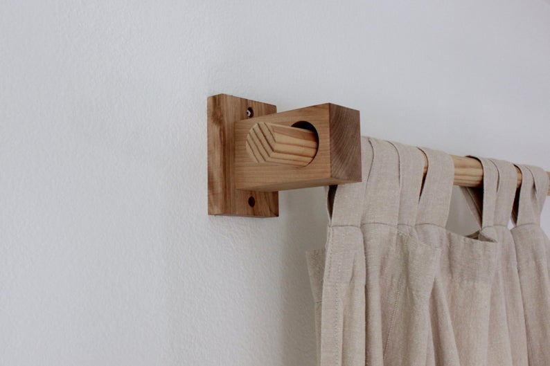 Curtain Holders Curtain Rod Holders Modern Wood Brackets Etsy In