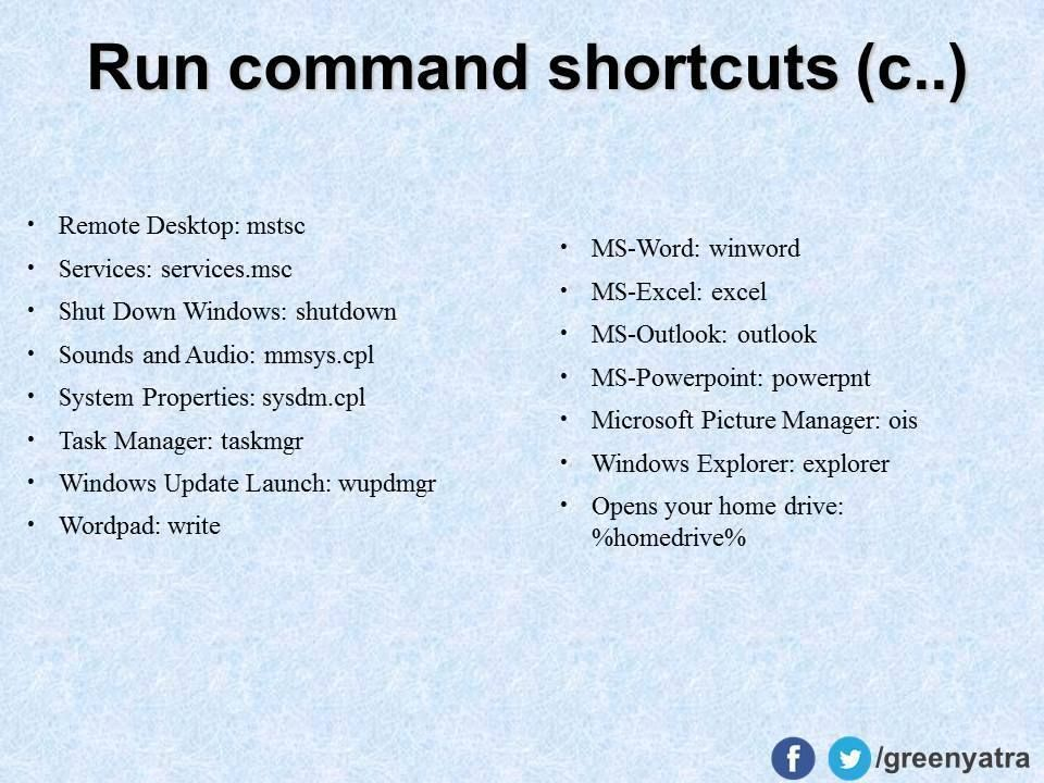 Run Commands | Ideas, Tips & Tricks | Computer shortcut keys