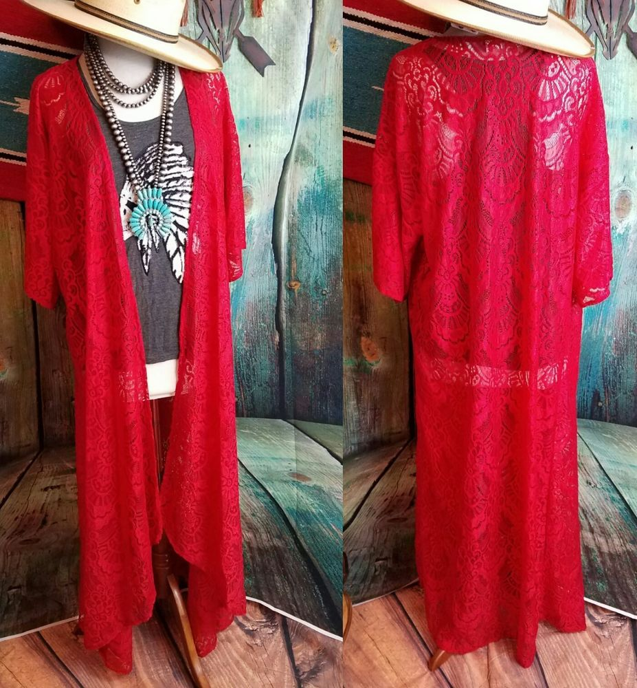 Cowgirl RED LACE DUSTER Kimono Cardigan Western BOHO Gypsy ...