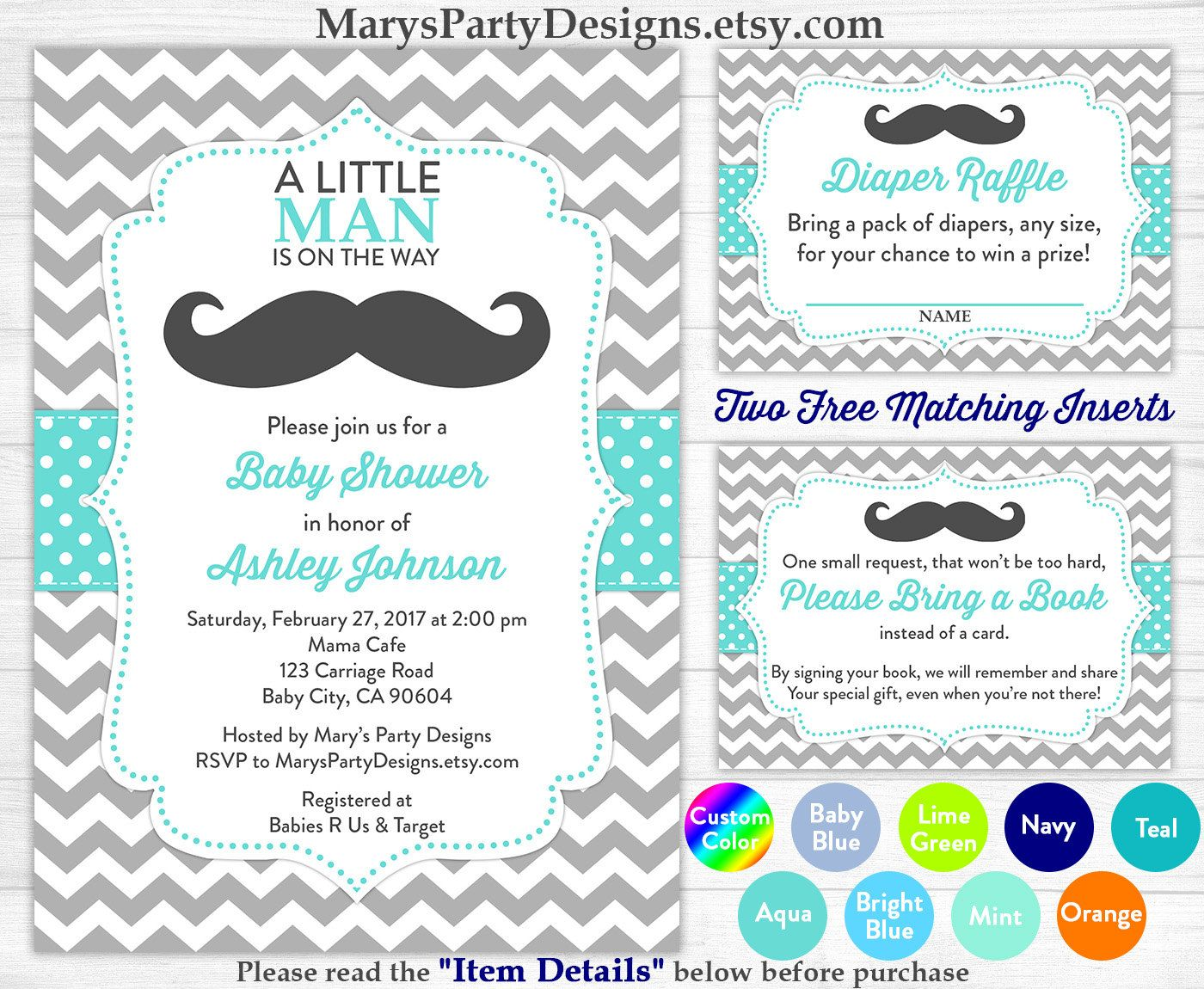 Little Man Baby Shower Invitation - Boy Baby Aqua Blue Mustache ...