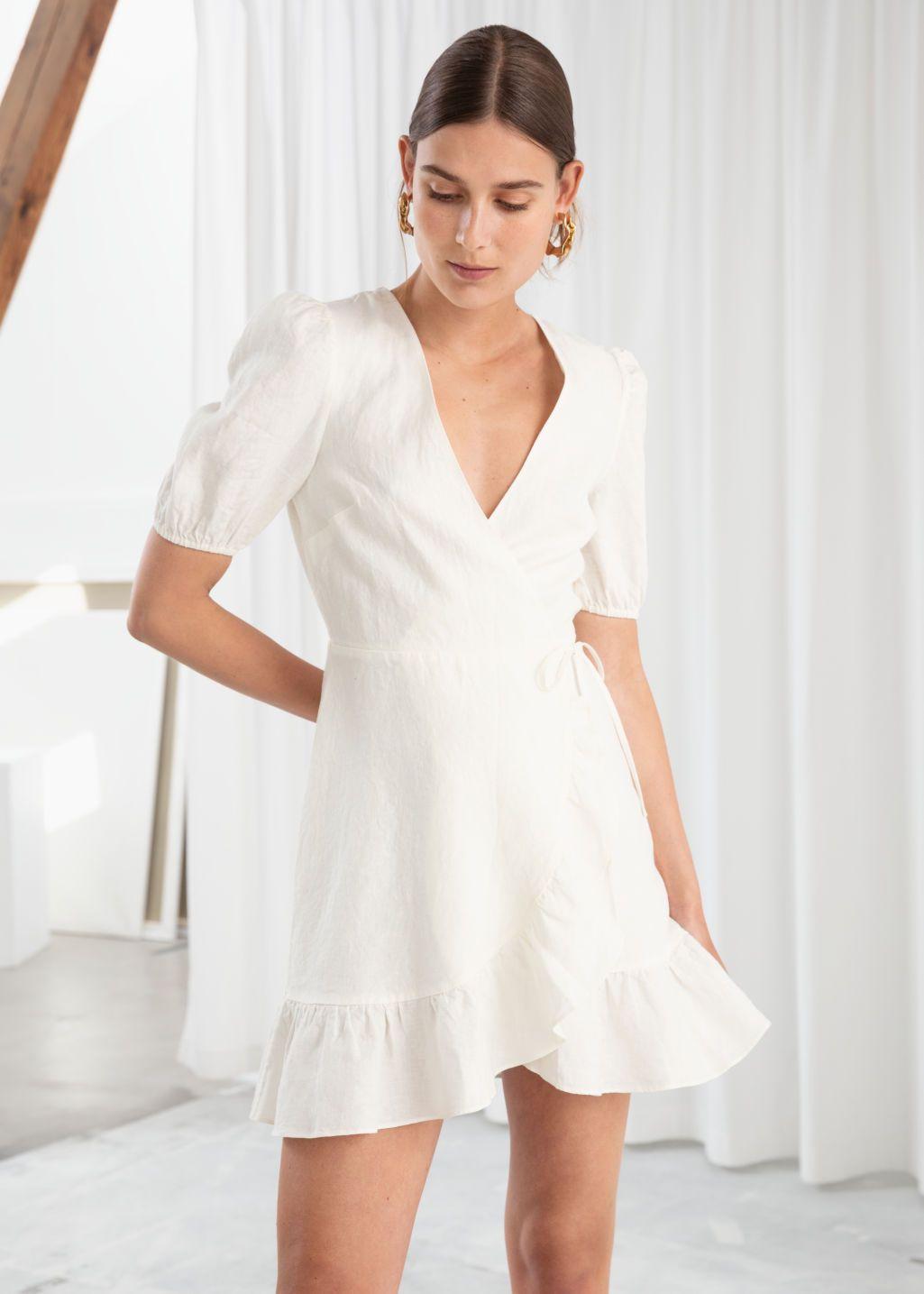Puff Sleeve Linen Wrap Mini Dress Mini Wrap Dress Mini Dress White Short Dress [ 1435 x 1025 Pixel ]