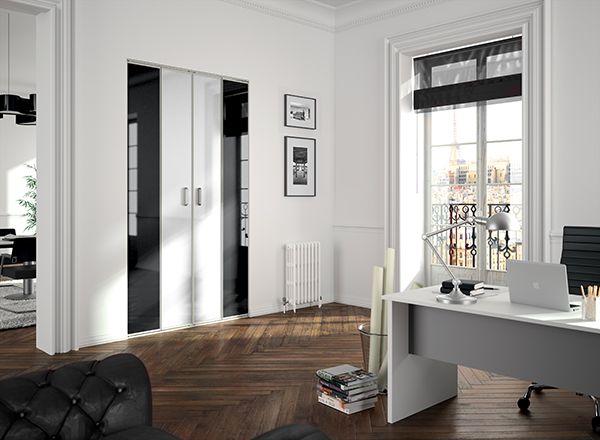 KAZED - portes de placard pliantes verres laqués Blanc pur et Noir