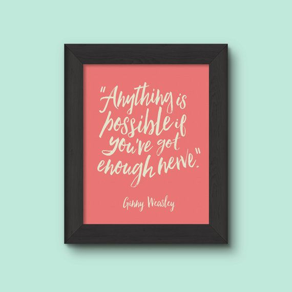 A Digital Watercolor Ginny Weasley Quote Showcasing Her Fiery