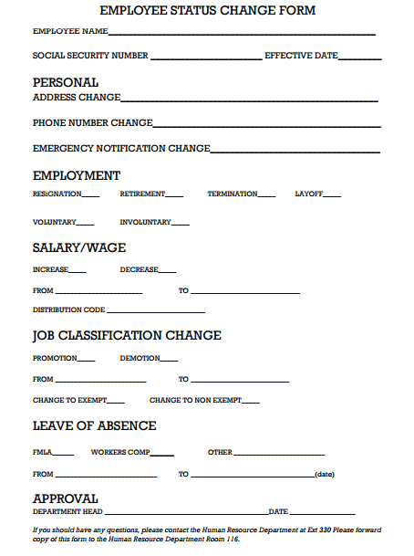 Employee Status Change Form 669 Invoice Template Notes Template Business Template