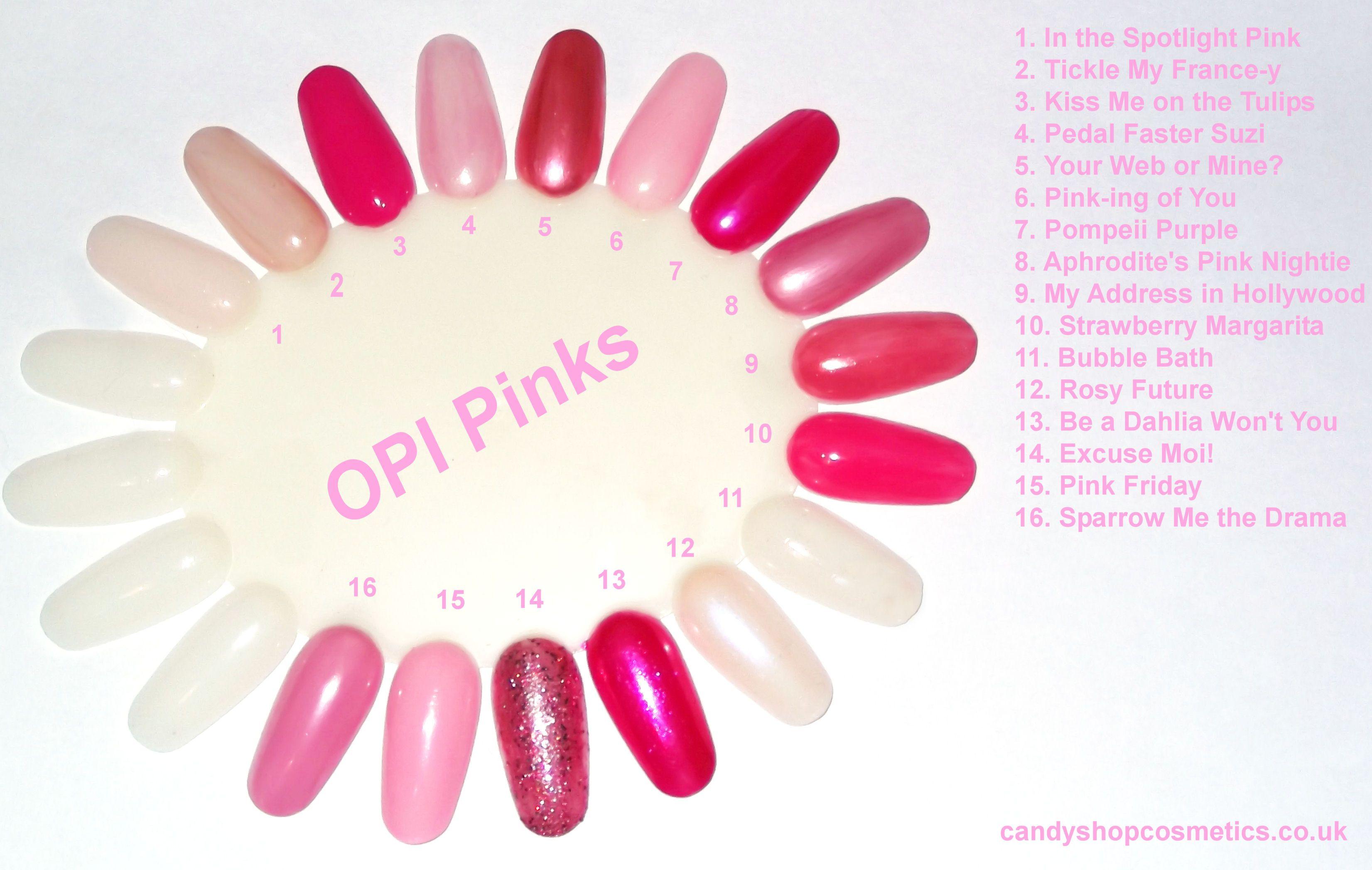 Pink Opi Nail Polish Pinks Colour Wheel Chart Opi Pink Pink Nails Opi Spring Nails