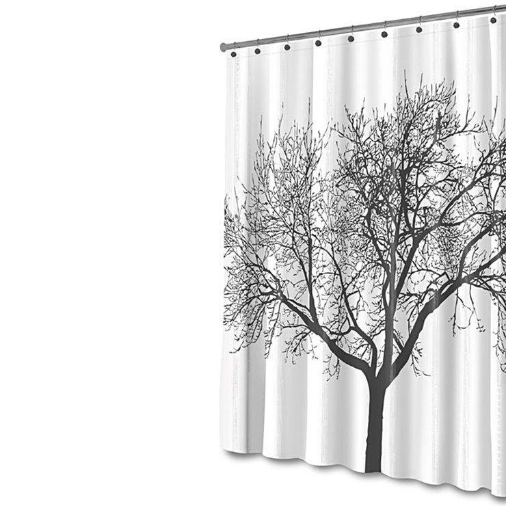 Tree Shower Curtain Black