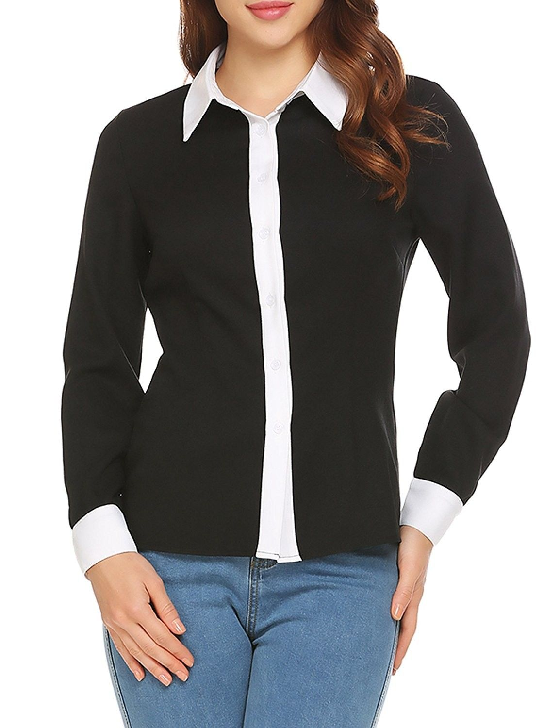 Women S Tailored Long Sleeve Button Down Collared Office Shirt Blouse Black C4189uzll37 The Office Shirts Black Blouse Tailored Blouses [ 1500 x 1154 Pixel ]