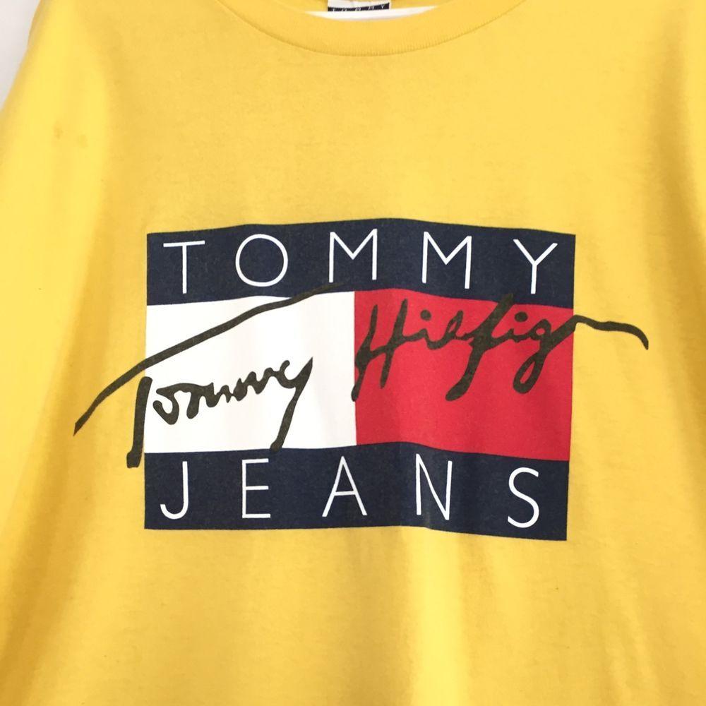 Tommy Hilfiger Vintage Men's Shirt Cotton USA M Spell Out Flag Color Block Logo #TommyHilfiger #CottonTShirt