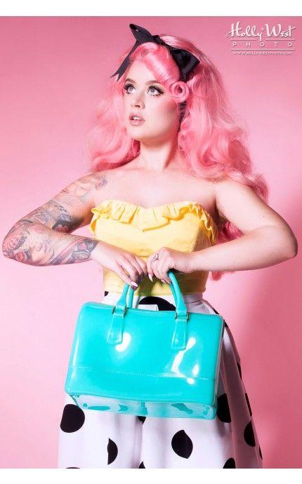 Pinup Girl Clothing - Jelly Handbag in Aqua Mint   Pinup Girl Clothing