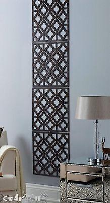 Contemporary Wood Effect Wall Art Decorative Hanging Panels Screen 4 Piece Decor Pooja Room Design Contemporary Decor