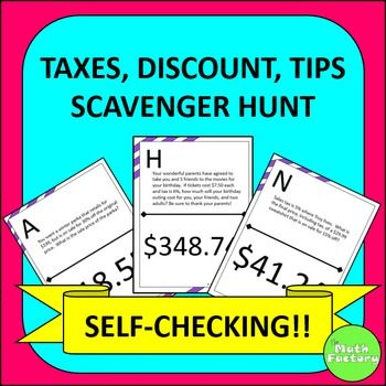 Discounts, Taxes, and Tips Scavenger Hunt | Worksheets, Tired and ...