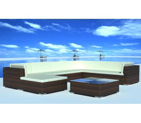 Conjunto modular de poli ratán marrón, 24 piezas | muebles para casa ...