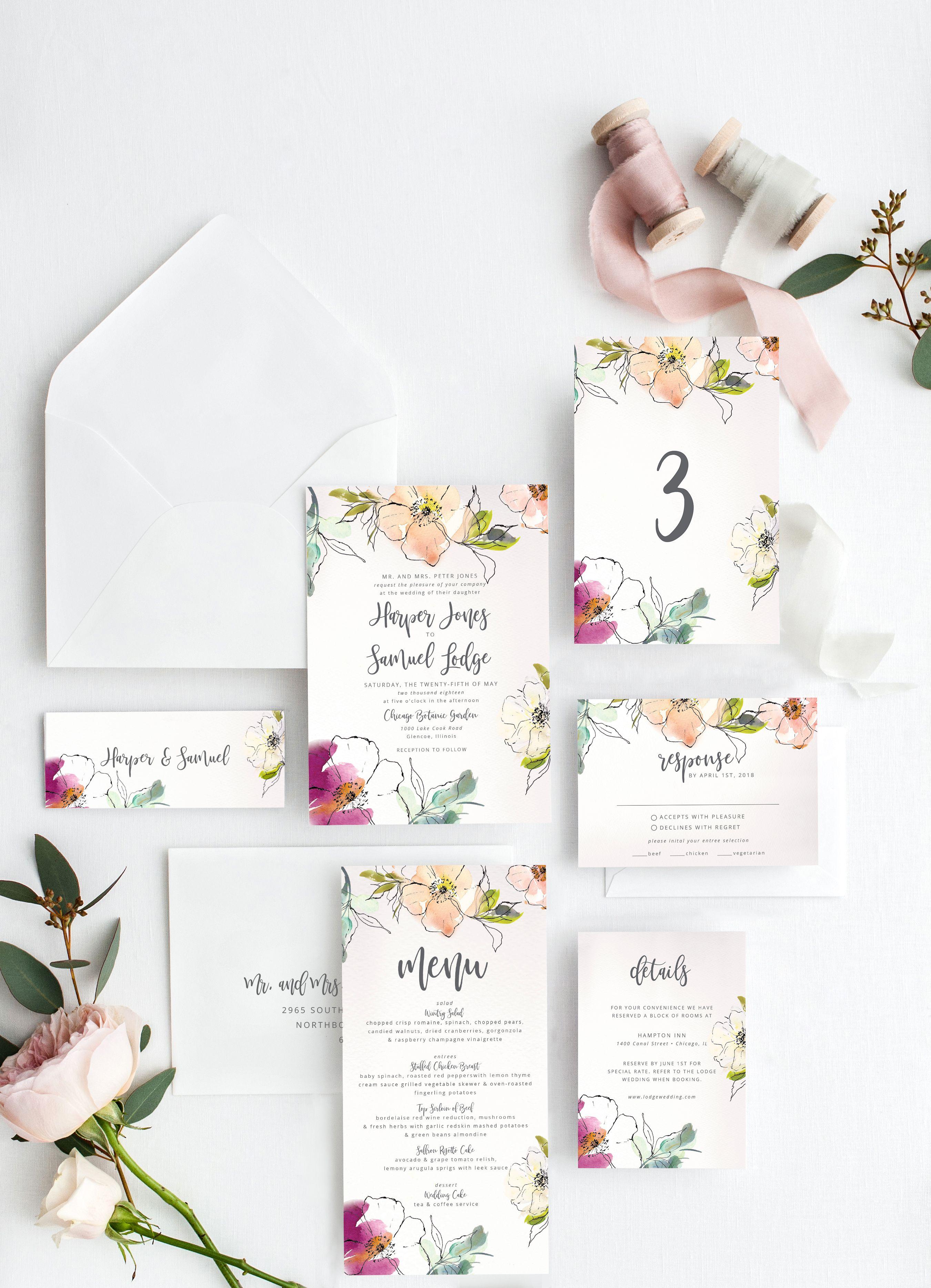 Floral Wedding Invitation Suite Watercolor Wedding Invitation | Etsy |  Spring wedding invitations, Floral wedding invitation suite, Fine wedding  invitations