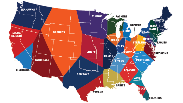 Facebook Data Provide The Most Accurate NFL Fandom Map Ever