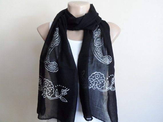 Black Scarf  Cotton Yemeni Scarf Hand Stamped by fizzaccessory, $20.00
