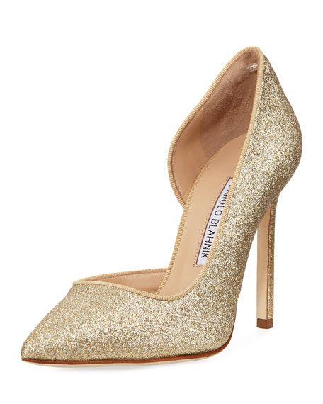 d6efb08cd5841 Collina Glitter 105mm Pump, Gold Manolo Blahnik Collina Glitter 105mm Pump,  Gold Gold Glitter