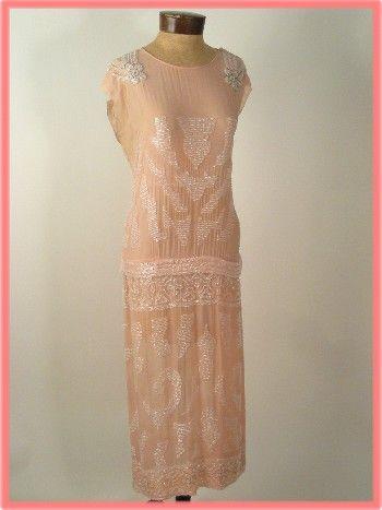 Vintage Beaded Pink Silk Fler Dress