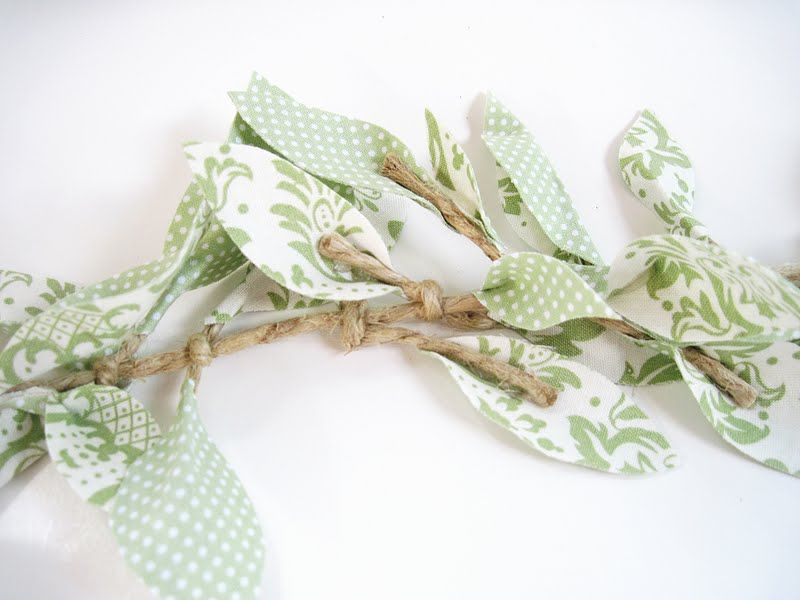 Two Shades of Pink: Fabric Leaf Vine Garland: Part 1.
